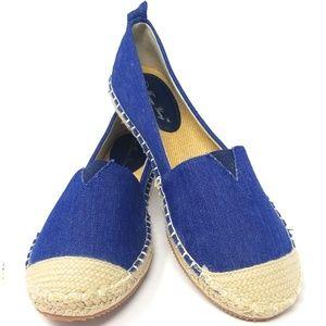 Women's Denim Flat Slip On Espadrilles,E-2816 Blue